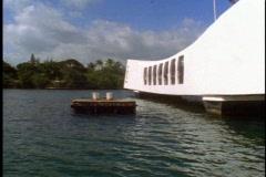 The USS Arizona Memorial at Pearl Harbor, pan right Stock Footage
