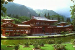 The Byodo-in Temple of Hawaii on Oahu, Japanese style Buddhist Temple Stock Footage