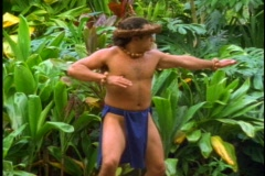 Hula dance, young man, ancient style of early Hawaiians Stock Footage