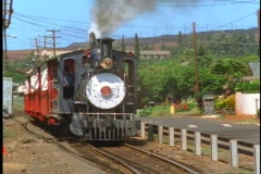 Steam Train, Sugar Cane Express, passes, on Maui in Hawaii Stock Footage