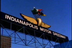Indianapolis Motor Speedway, sign above entrance Stock Footage