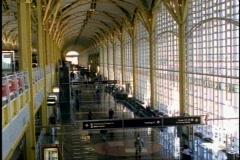 Washington DC, Reagan National Airport, interior wide shot, slight tilt up Stock Footage