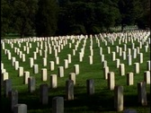 Stock Video Footage of Arlington National Cemetery, gravestones, no people, pan right