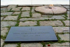 John F Kennedy Gravesite, close up, eternal flame Stock Footage