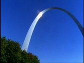 Stock Video Footage of St. Louis Arch, wide shot arch only, no people, pan right