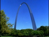 Stock Video Footage of St. Louis Arch, wide shot arch only, no people