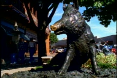 Kansas City Country Club Plaza, close up of bronze boar, people passing Stock Footage