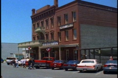 """""""Old Town"""" Sacramento, wide shot, old store fronts Stock Footage"""