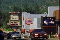 Main Street of Lake Tahoe City Nevada, traffic, wide shot Stock Footage