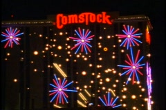 Reno by Night, Comstock sign medium close up Stock Footage