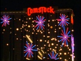Stock Video Footage of Reno by Night, Comstock sign medium close up