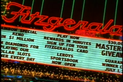 Reno by Night, Fitzgerald sign, close up pan right, angled Stock Footage