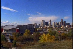 Calgary Alberta, wide shot with Stampede Dome Stock Footage