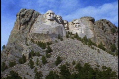 Mount Rushmore, wide shot front view, tilt up Stock Footage