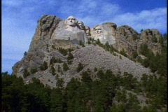 Mount Rushmore, front view, still, wide shot Stock Footage