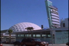 The Cinerama Dome and the Arclight Cinemas on Sunset Stock Footage