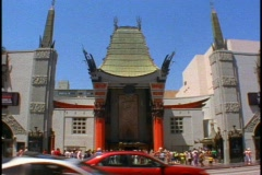 Grauman's Chinese Theater in Hollywood, wide shot Stock Footage