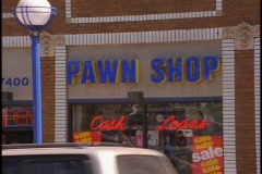 Pawn Shop, sign and window Stock Footage