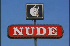 Nude sign, part of Adult club - stock footage