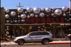 Melrose Avenue, shops and space balls Stock Footage