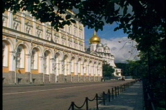 Kremlin government building, yellow façade, no people, Moscow, Russia Stock Footage