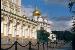 Onion domes, small church in Kremlin, Moscow, Russia Stock Footage