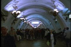 Moscow Metro, Arbat Station, crowd - stock footage