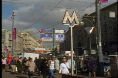 Crowd on Moscow street with Metro sign - stock footage