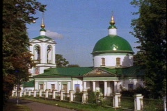 Country church with domes (not onions) Stock Footage