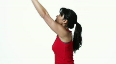 Woman stretching Stock Footage