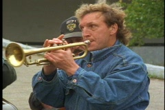 Dixieland Band, trumpet player, banjo, bass Stock Footage
