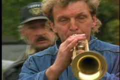 Dixieland Band, trumpet player and face Stock Footage