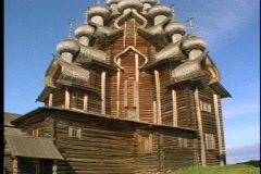 22  wooden onion dome church, low, tilt up Stock Footage