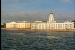 St. Petersburg, Neva River, Lavish buildings with towers. Stock Footage