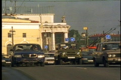 Stock Video Footage of St. Petersburg, traffic, crush, over bridge toward camera