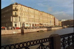 St. Petersburg, canal, buildings, still, bridge in foreground Stock Footage