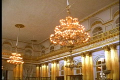 Hermitage interior, gilt hall, 2 chandeliers Stock Footage