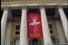 "St. Petersburg, Pushkin Theatre, ""Russian Ballet"" banner Stock Footage"