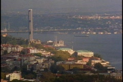 The Bosporus with the bridge crossing to the Asian side Stock Footage