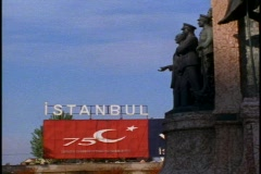 Istanbul Taksim Square Istanbul sign with statues on right Stock Footage