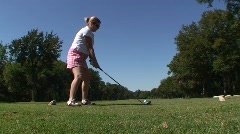 Golf - Woman Hits a Tee Shot HD Stock Footage