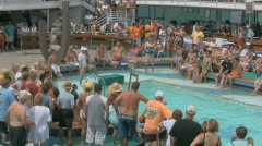 Sexy People On A Cruise Ship Waiting For A Belly Flop Contest 4 Stock Footage