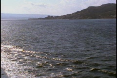 The Dardanelles, backlighting, sea and hills  POV from boat Stock Footage