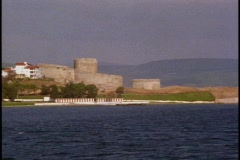 The Dardanelles, castle , POV right to left Stock Footage