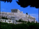Stock Video Footage of Acropolis with pine trees framing