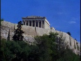 Stock Video Footage of The Acropolis, high on hill, M excellent Athens establishing shot