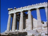 Stock Video Footage of Acropolis, corner detail of columns, no people