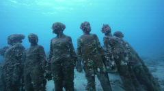 Underwater sculptures on bottom of sea Grenada Stock Footage