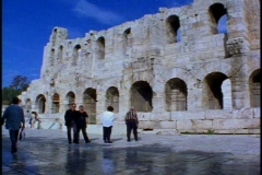 Grecian ruins, wall with arches Stock Footage