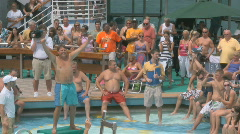 Sexy People On A Cruise Ship Waiting For A Belly Flop Contest 3 Stock Footage